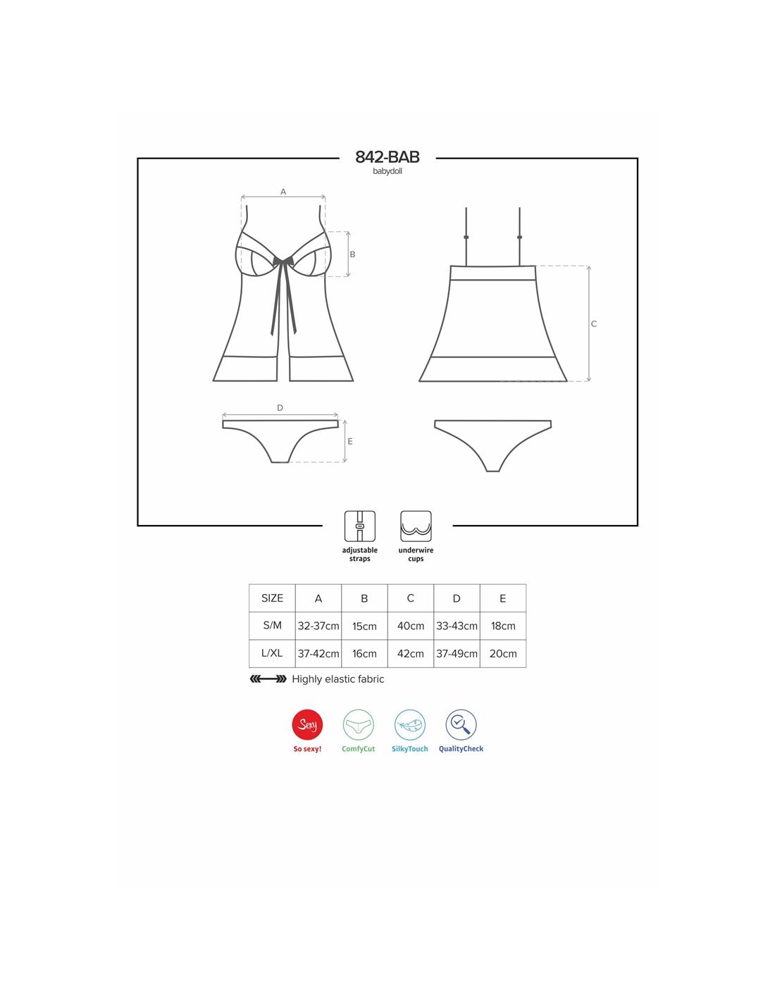 Camisa De Noite E Cueca 842-Bab Obsessive Preto - 40-42 L/XL - PR2010352350