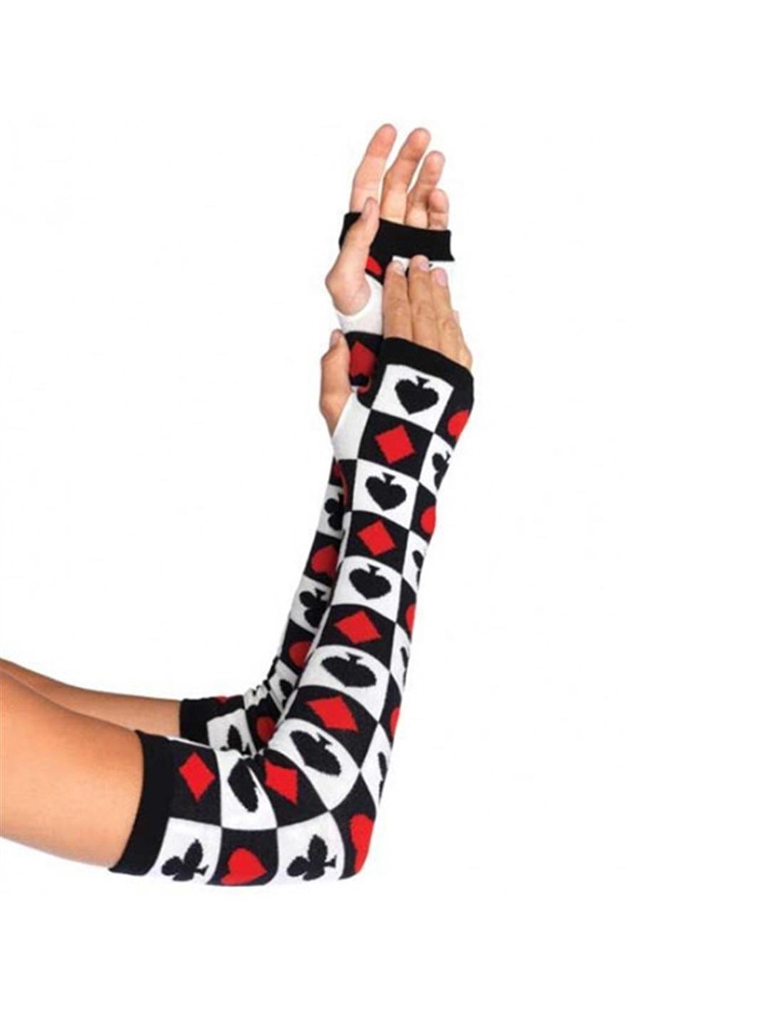 Luvas abertas esquenta braços com motivos de Poker - Único - PR2010304850