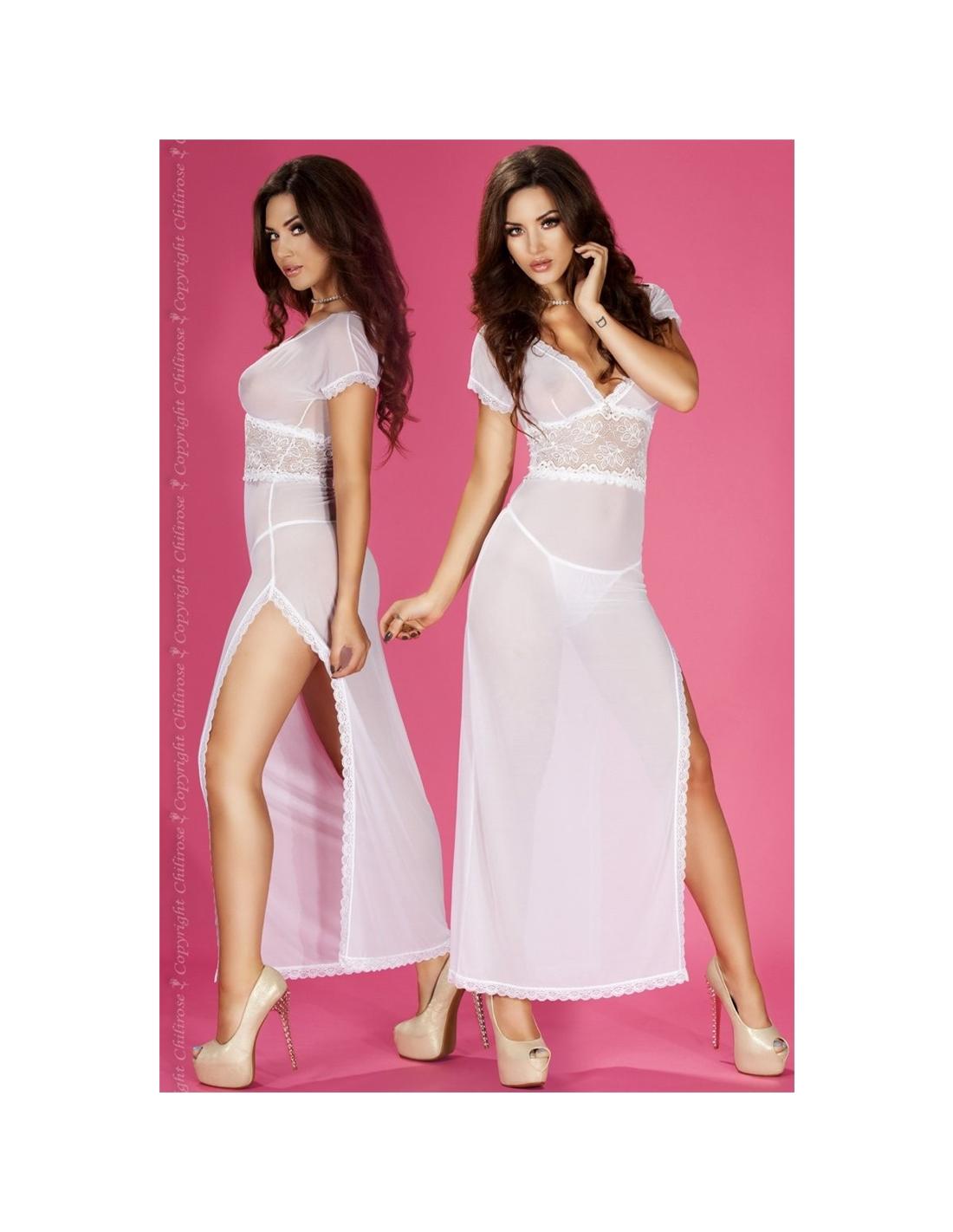 Camisa De Noite E Tanga Cr-3625 Branca - 36-38 S/M - PR2010323902