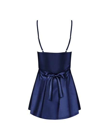 Camisa De Noite E Tanga Satinia Obsessive Azul - 36-38 S/M - PR2010346249