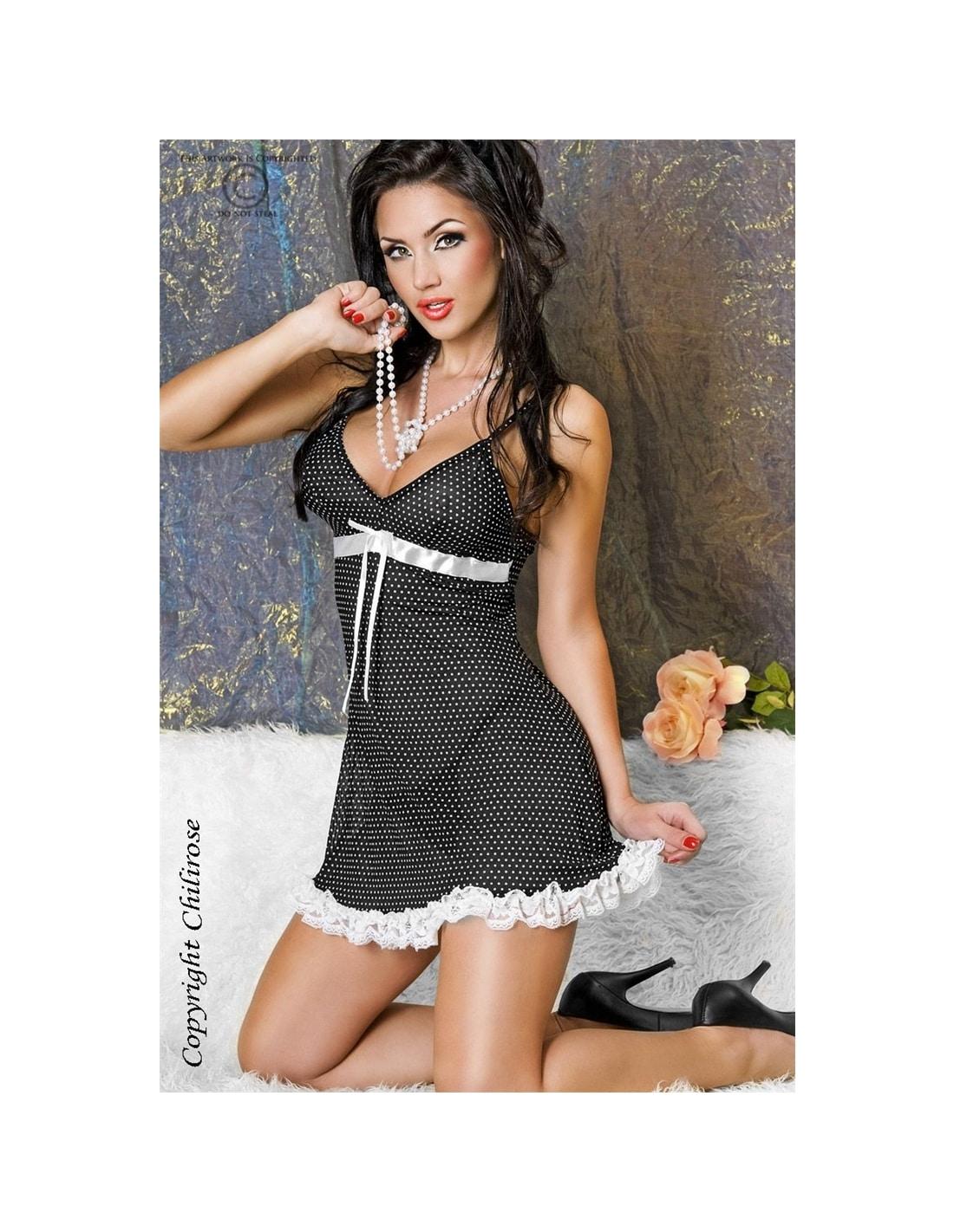 PR2010318485 - Camisa De Noite E Tanga Cr-3170 Preta Com Bolinh - 36-38 S/M-PR2010318485
